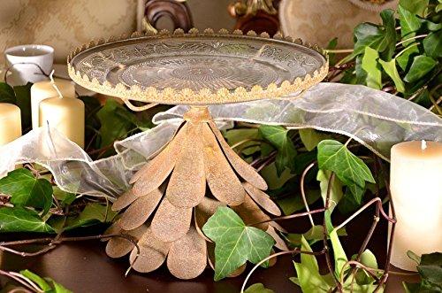 Kuchenplatte Antik Gold Servierplatte Etagere Kuchenständer Tortenplatte Art Deko 23 x 30 cm