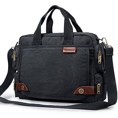 Hombres hombro cruzado bolsas lienzo bolso Messenger Bag bolsas de viaje para hombre de Wishtime (azul negro)