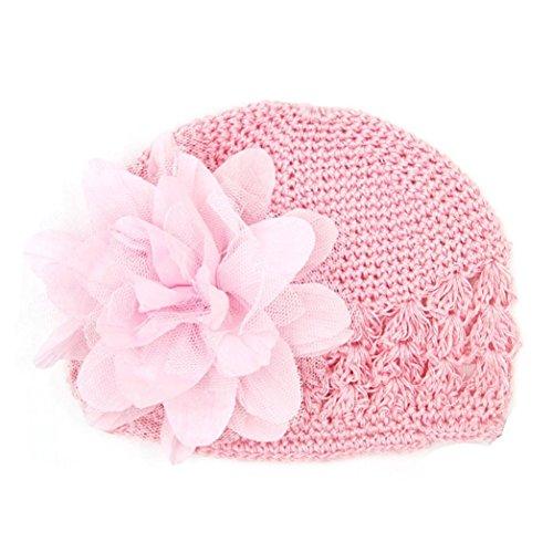 Baby Mütze Clode® Kleinkind Säuglingsbaby Mädchen Blumen Höhle heraus Hut Headwear gestrickter Hut (Rosa) (Handschuh Hut Rosa)