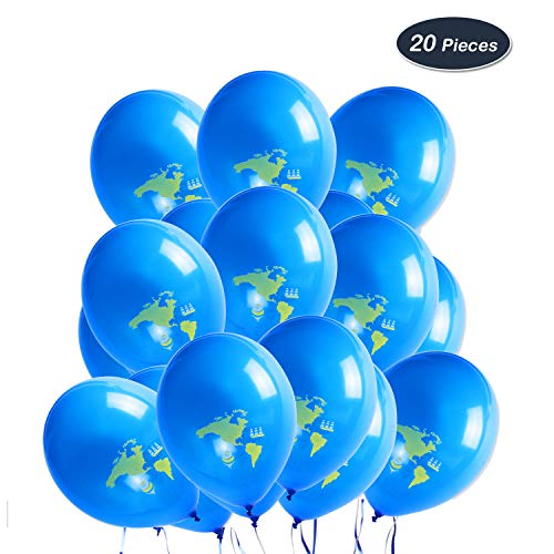 WERNNSAI Party Deko Zubehör - Global Balloon Blau Weltkarte Latex Luftballons zum Baby Shower Geburtstag Hochzeit Ruhestand Abschluss Reise Themen Party 20 Stück (12