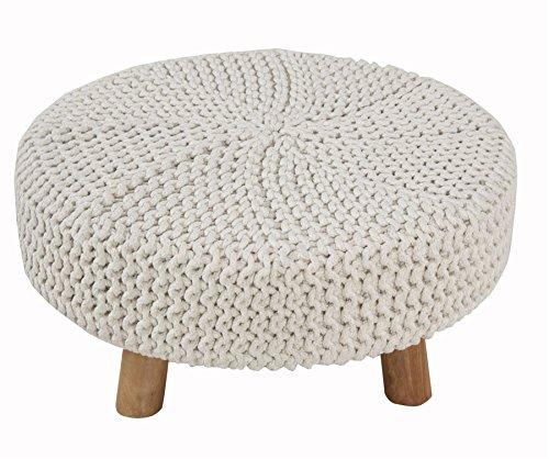 Homescapes Moderner Strick Sitzhocker eierschalenweiß Fußhocker Schemel 62 x 62 x 30 cm mit gestricktem Baumwoll Bezug und Holzbeinen