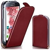 Samsung Galaxy S4 Mini Hülle Dunkel-Rot [OneFlow 360° Klapp-Hülle] Etui thin Handytasche Dünn Handyhülle für Samsung Galaxy S4 Mini Case Flip Cover Schutzhülle Kunst-Leder Tasche
