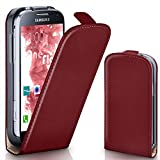 Samsung Galaxy S4 Mini | Hülle Dunkel-Rot [OneFlow 360° Klapp-Hülle] Etui thin Handytasche Dünn Handyhülle für Samsung Galaxy S4 Mini Case Flip Cover Schutzhülle Kunst-Leder Tasche