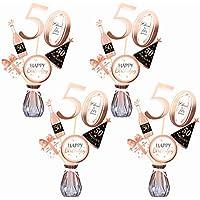 Qpout Oro Rosa 50 cumpleaños Mesa Toppers-Palitos de Centro de Mesa de 50 cumpleaños- Hombres / Mujeres 30 Decoraciones para Fiestas de cumpleaños Accesorios Suministros de Mesa