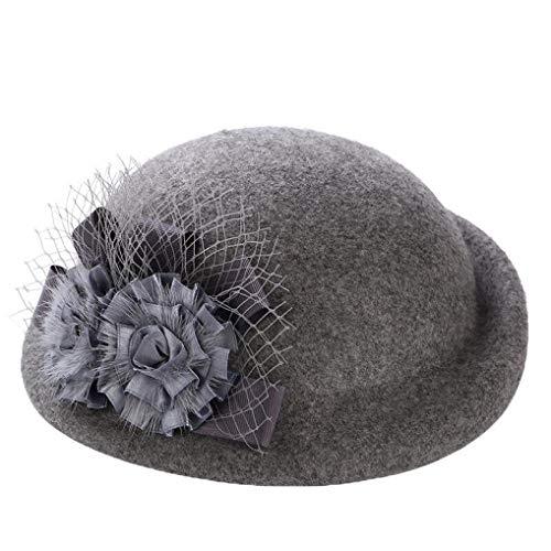 HARORU Frauen Wolle Fedoras Hut Einfachheit Klassische Fascinator Haar Hut Floral Filz Mütze für Partyhochzeit Kirche (Gold Rush Kostüm)