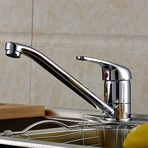 Brass Chrome Finish Kitchen Sink Mixer Tap Rotation Spout Single Long Neck Lever Hot Cold Water Faucet -