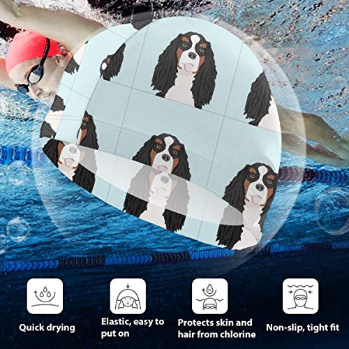 Kids Swimming Cap Cavalier King Charles Spaniel Tri Dog with Cut Lines Dog Panel Sew Silicone Waterproof Swim Cap Bathing Hair Quick Drying for Kids