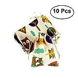 10pcs regalo sacchetti di cotone regalo primo soccorso bomboniera titolare borsa evento decorazioni per feste modello gufo
