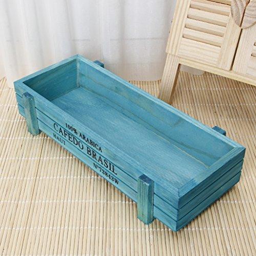Cold Toy Vintage Holz Garten Blume Pflanzer saftigen Topf Rechteck Trog Box Pflanze Bett (Blau)