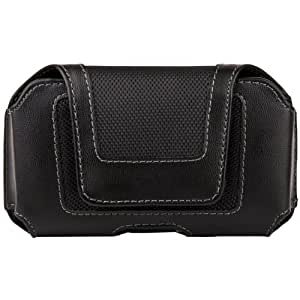 Black Luxmo Faux Leather & Nylon Horizontal Holster Case with Belt Clip for Sony Xperia Z3 Compact D5833