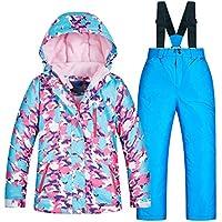Chaqueta de esquí Impermeable para niños al Aire Libre de Invierno para niños Pantalones, Conjunto de 2 Piezas