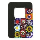 GlassOfVenice - Colgante Rectangular de Cristal de Murano, diseño de Millefiori, Color Negro