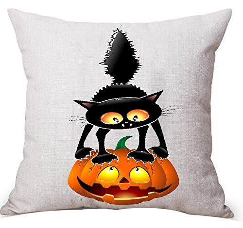 KL Decor Happy Halloween Large Tree and Cat Cotton Linen Throw Pillow Case Cushion Cover Home Sofa Decorative 18 x 18 Inches/45cm x 45cm (2)