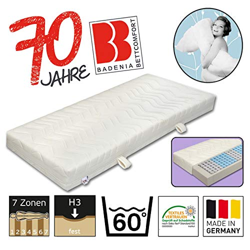 Badenia Bettcomfort 7-Zonen Tonnentaschenfderkernmatratze, Jubiläumsmodell 70 Jahre, Härtegrad 3, 90 x 200 cm, weiß