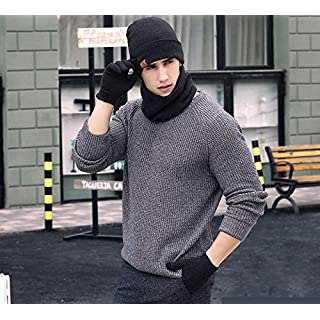 Men's Knitted Hat, Touch Screen Gloves And Scarf Autumn & Winter Cold Weather Windproof Warm Keeping Knitted Accessory Three-Piece Set, Fashionable Winter Gift (Black)