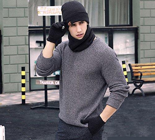 Ensemble de trois pièces : bonnet tricoté pour homme, gants à écran tactile et foulard automne & hiver, accessoires en tricot coupe-vent,  cadeau d'hiver tendance, noir