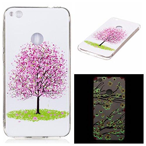 Ecoway Huawei P8 Lite 2017 Luminous Case Cover, Coque de téléphone IMD Silicone Housse en silicone Housse de protection Housse pour téléphone portable pour Huawei P8 Lite 2017 - Cerisier