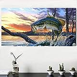 RTCKF Erstaunliche vertikale rechteckige Fisch ölgemälde wandkunst Poster Nordic drucke Wohnzimmer...