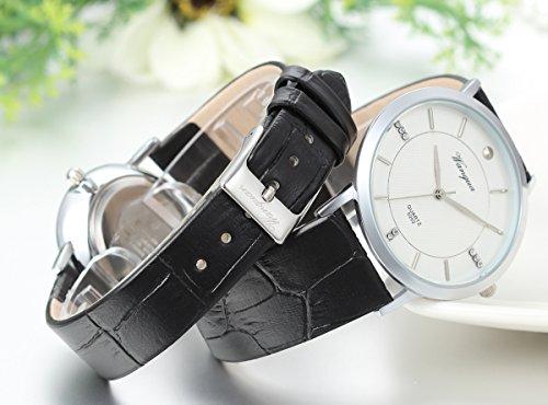 JewelryWe 2pcs Herren Damen Freundschafts Armbanduhr, Elegant Einfach Business Casual Analog Quarz Leder Armband Uhr für Lieben Valentinstag Paar Paare Geschenk, Schwarz