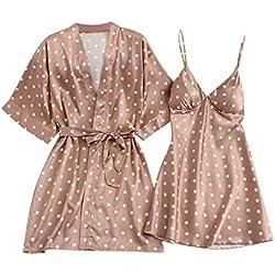 Dtuta Ensemble De Nuit pour Pyjamas Grande Taille pour Dames Femmes Chemise De Nuit Comfy Flatteur Chemise De Nuit à Manches Longues Robe De Chambre à Coucher