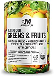 Bigmuscles Nutrition Superfood Greens & Fruits 40 Servings | Original Flavour | Organic Spirulina & Wh