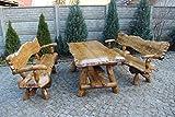 Massivholz Sitzgruppe Eiche & Buche für den Garten - Langer Tisch aus Holz und 2 Bänke mit Rückenlehne