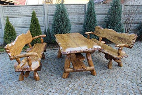 Massivholz Sitzgruppe Eiche & Buche für den Garten - Langer Tisch aus Holz und 2 Bänke mit...