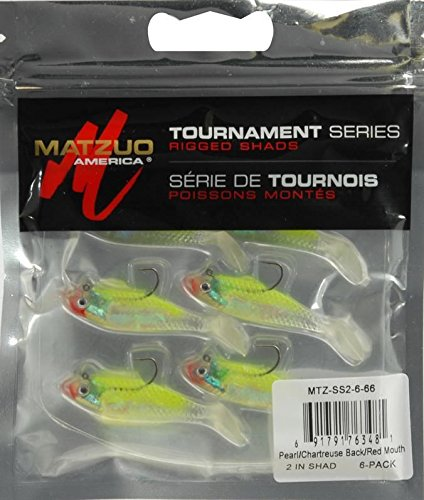 Matzuo Pearl Chartreuse Swim Shad 6 Pack 2