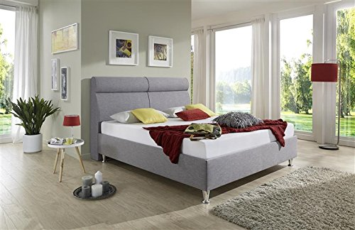 Breckle Polsterbett, Bett 120 x 200 cm Weaver Bavaria 38 cm Höhe Stärke 6 cm Bündig Leder Optik schlamm comfort