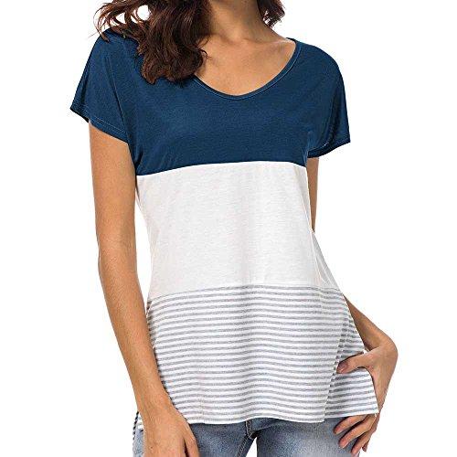 Makefortune 2019 Damen Tops Sommer, T-Shirts Blusen Kurzarm Stripe Patchwork T-Shirt Lässige Bluse Rundhals Tops Tunika Hemd Colorblock Sweatshirts Oberteile Streetwear -