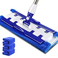 JIGAN Microfiber 360 Rotation Floor Mop, with Ultra Long Stainless Steel Handle and 4 Packs Washable Pads for Home Office Floor Cleaning