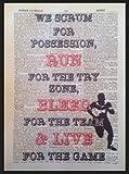 Parksmoonprints Vintage Citation de Rugby D'Impression 1933Page de Dictionnaire Art Mural Photo Sport Player