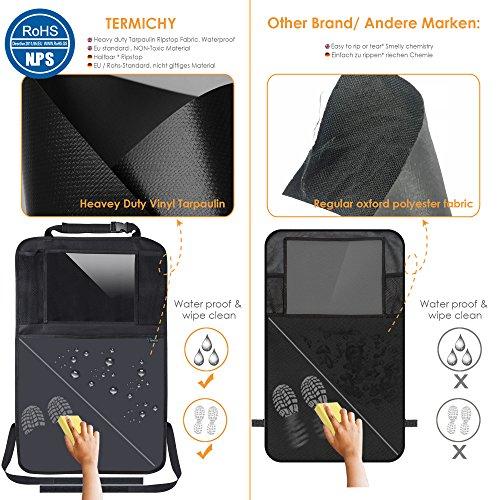Termichy Auto-Rückenlehnenschutz, Trittschutz mit Rücksitz-Organizer, Rücksitzschoner, Kick-Matten-Schutz für Autositz mit Durchsichtigem Großen iPad-Tablet-Halter Wasserdichtes (1 Stück)