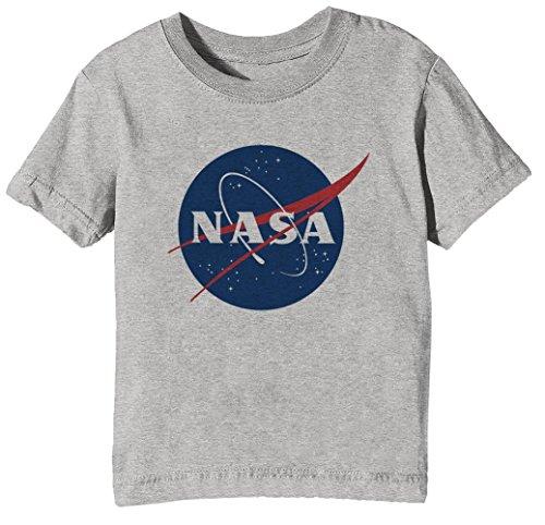 Erido NASA Kinder Unisex Jungen Mädchen T-Shirt Rundhals Grau Kurzarm Größe XL Kids Boys Girls Grey X-Large Size XL (Geeky Mädchen Geschenke Für)