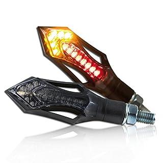 Motorrad LED Blinker Rücklichtkombi 'Rush', schwarz, ABS, M8, Paar, L: 75mm x B: 26mm, getönt, E-geprüft