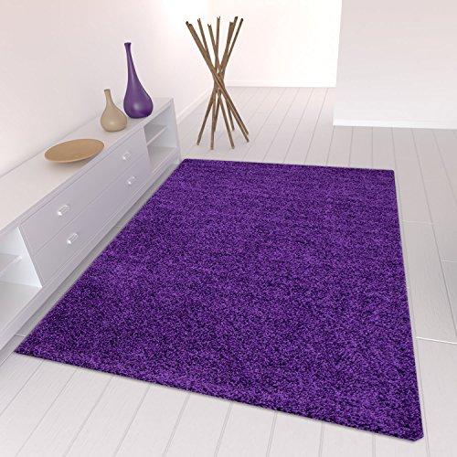 Star Shaggy Teppich Farbe Hochflor Langflor Teppiche Modern für Wohnzimmer Schlafzimmer Uni Farben - Teppich-Home, Farbe:Lila, Maße:140x200 cm