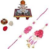 ECraftIndia Bhaiya Bhabhi Designer Rakhi With Lord Ganesha Marble Chowki And Roli Tikka Matki
