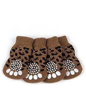 Badalink 4 Pcs Perro Calcetines Antideslizantes para Mascotas Gato Perrito Doméstico Animal en Casa -Leopardo