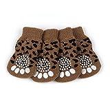 Pet Chaussettes Antidérapantes - Badalink Lot de 4 en Coton pour Chien Chat Taille XL - Léopard