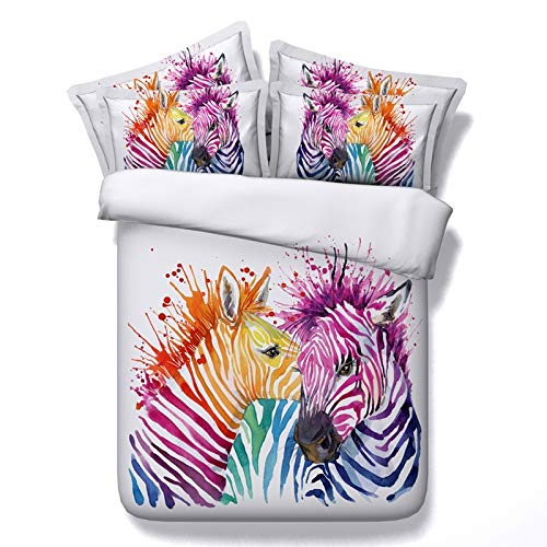 JSDJSUIT Bettwäsche-Set Zebra Bettwäsche Set Gedruckt Bettbezug Set Farbige Tier Bettbezug Kissenbezug Twin Voll Königin König Hause, AU Königin 3 stücke (Zebra-rosa-bettwäsche-voll)