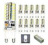HHD Lot de 10 Ampoule G9 LED 3.5W Ampoule Lampe 64 SMD 3014 LED Blanc Froid 300LM Super Lumineux LED Ampoule Spot LED Remplacement 25W Lampe Halogène, AC 220-240V, 5600K, 360° Angle de Faisceau [Classe énergétique A+]