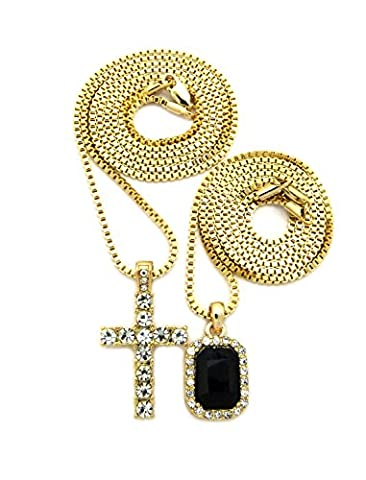 Iced Out Faux Onyx Stone & Single Row Cross Pendant Set 2mm 61cm & 76cm Box Chains in Gold-Tone