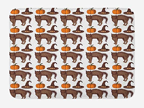 ERCGY Halloween Bath Mat, Seasonal Vintage Pattern with Pumpkin Squash Witch Hats and Cat Figures, Plush Bathroom Decor Mat with Non Slip Backing, 23.6 W X 15.7W Inches, Brown Orange Green
