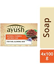Lever Ayush Natural Fairness Saffron Soap, 100 g (Pack of 4)