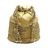 united bag Women's Silk Potli Bag with Attractive Handicraft Thread Work (Gold)