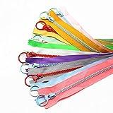 YaHoGa 10 piezas 30 cm 5# Plástico cremalleras Resina cremalleras para DIY Costura Manualidades bolsas ropa (1 pieza cada color) (30 cm 10 piezas)