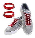MAXXLACES Flache elastische Schnürsenkel mit einstellbarer Spannung in verschiedenen Farben Schuhbänder ohne Binden komfortable Schuhbinden einfach zu bedienen (Rot)