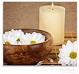 Wallario Herdabdeckplatte / Spitzschutz aus Glas, 1-teilig, 60x52cm, für Ceran- und Induktionsherde, Stillleben - Kerzen und Blumenblüten in Holzschale