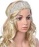 ArtiDeco 1920s Stirnband Damen 20er Jahre Hochzeit Braut Accessoires Flapper Haarband Blinkende Kopf Kette Gatsby Kostüm Zubehör (Weiß)