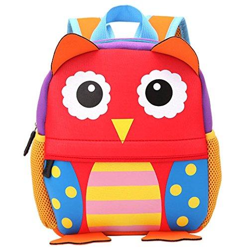 SHOBDW Kind Rucksack Kleinkind Kinder Schule Taschen Kindergarten Cartoon Schulter Buch Taschen Rot